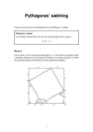 Pythagoras' sætning - Vestergaards Matematik Sider
