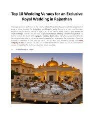 Top 10 Exclusive Royal Wedding Venues in Rajasthan