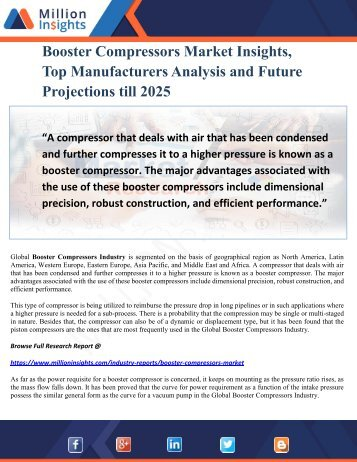 Booster Compressors Market Insights, Top Manufacturers Analysis and Future Projections till 2025