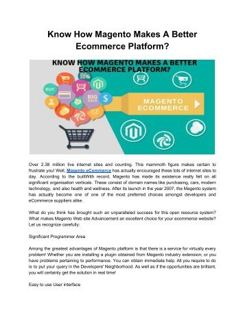 Know How Magento Makes A Better Ecommerce Platform_