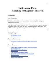 Unit Lesson Plan: Modeling Pythagoras' Theorem