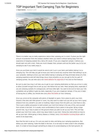 TOP Important Tent Camping Tips for Beginners - Expert Reviews