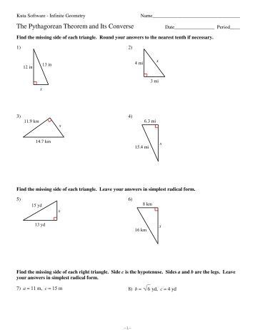 Pythagorean Theorem Worksheet It Is Very Important That The