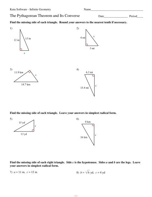 8-The Pythagorean Theorem and Its Converse - Kuta Software