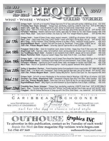 Bequia this Week - Nov 16th - Nov 22nd