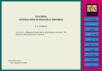 TEACHING GENERALIZED PYTHAGORAS ... - E-atheneum.net