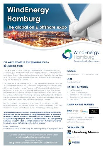 Hamburg WindEnergy 2018 - Rückblick