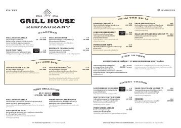Grill House Menu, Silja Serenade