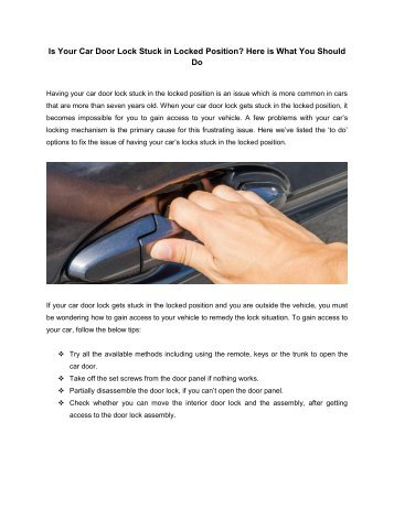 Tips to prevent Car Door Lock Stuck in Locked Position