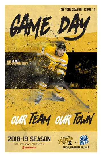 Kingston Frontenacs GameDay November 16, 2018