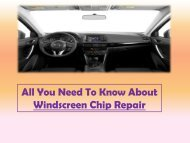 All You Need To Know About Windscreen Chip Repair