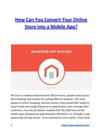 How Can You Convert Your Online Store into a Mobile App?