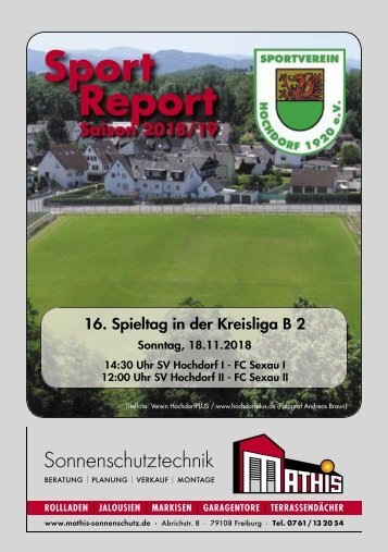 Sport Report - SV Hochdorf - Sonntag 18.11.2018