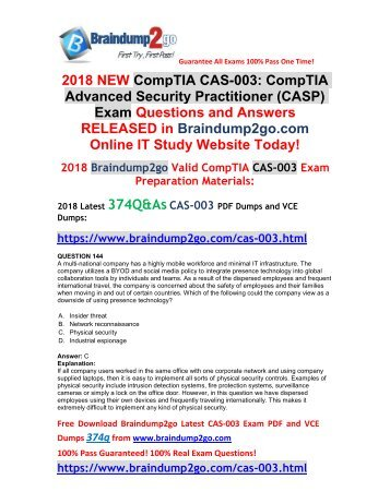 [2018-Nov-Version]New Braindump2go CAS-003 Dumps with VCE and PDF 374Q Free Share(Q144-Q154)