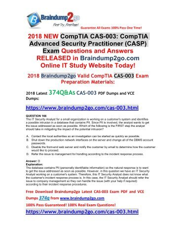 [2018-Nov-Version]New Braindump2go CAS-003 PDF Dumps 374Q Free Share(Q166-Q176)