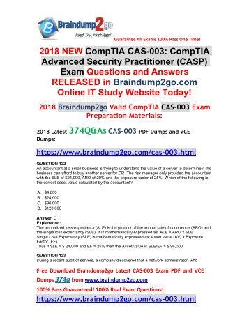 [2018-Nov-Version]New Braindump2go CAS-003 VCE and PDF Dumps 374Q Free Share(Q122-Q132)