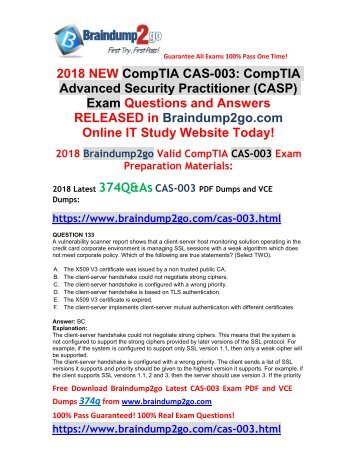 [2018-Nov-Version]New Braindump2go CAS-003 VCE Dumps 374Q Free Share(Q133-Q143)