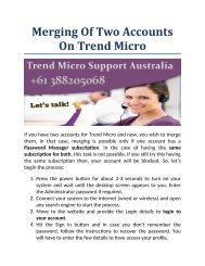 Merging Of Two Accounts On Trend Micro