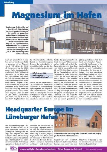 Magnesium im Hafen - Wirtschaftsforum Lüneburg eV