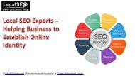 Local SEO Experts – Helping Business to Establish Online Identity
