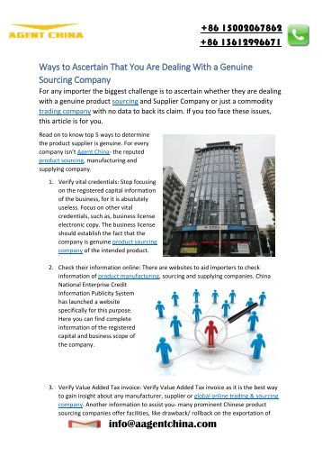 Ways to ascertain that you are dealing with a genuine sourcing company