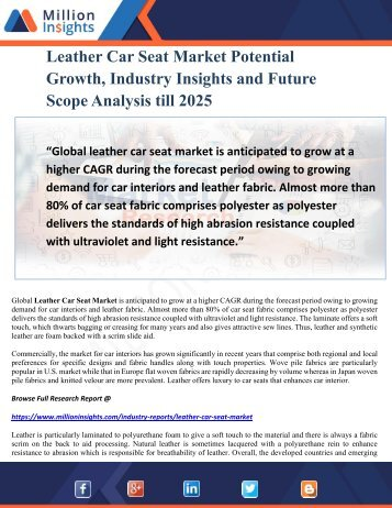 Leather Car Seat Market Potential Growth, Industry Insights and Future Scope Analysis till 2025