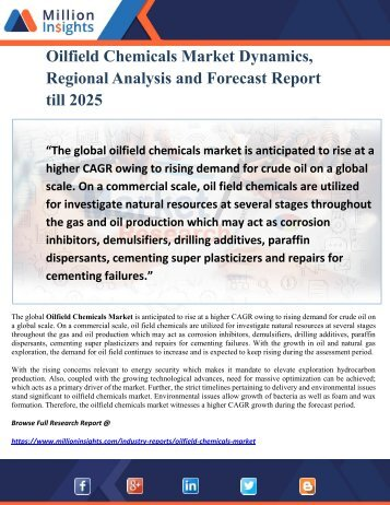 Oilfield Chemicals Market Dynamics, Regional Analysis and Forecast Report till 2025