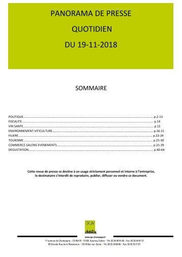 Panorama de presse quotidien du 19-11-2018