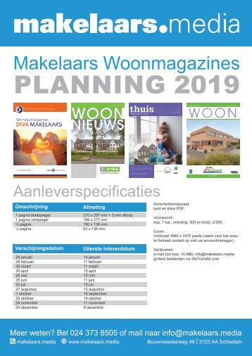 Planning Makelaarsmagazines 2019, by Makelaars.media