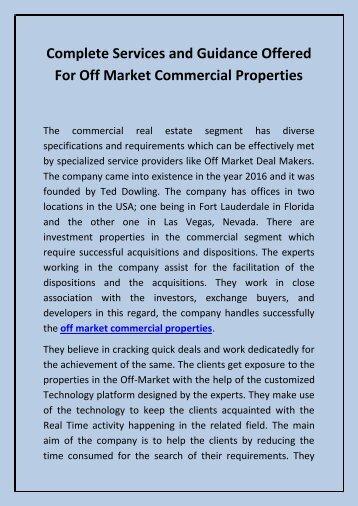 Net Lease Development - Off market commercial properties