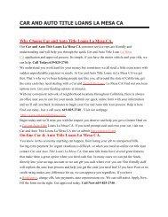 La Mesa Ca Top Auto Car Lender   619-825-2740