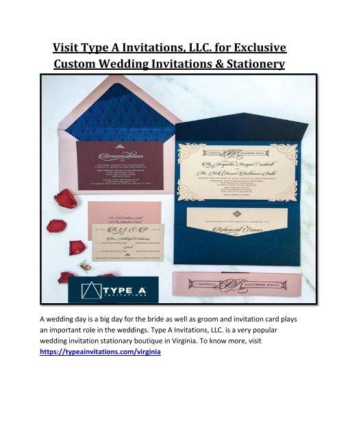 Visit Type A Invitations Llc For Exclusive Custom Wedding