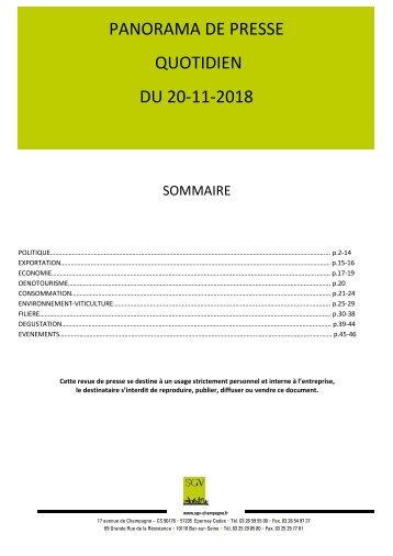 Panorama de presse quotidien du 20-11-2018