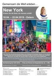 New York Städteflugreise 18. bis 22.04.2019 - Ostern