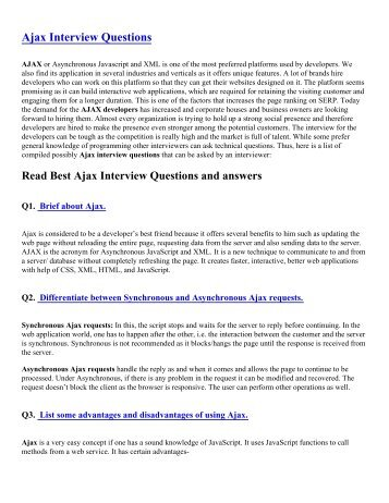 Ajax Interview Questions Pdf