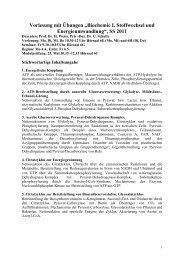 Biochemie I, Stoffwechsel und Energieumwandlung