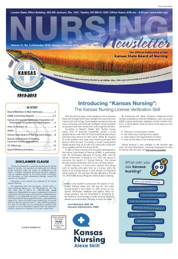 Kansas State Board of Nursing Newsletter - December 2018