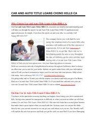 Hi Auto Car Title Loans Chino Hills | 909-325-3727