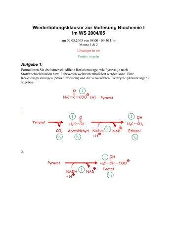 Wiederholungsklausur zur Vorlesung Biochemie I im WS 2004/05