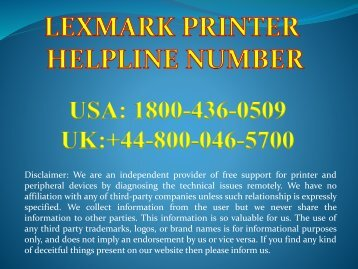 Lexmark Printer Support 1800-436-0509 Lexmark Printer Toll Free Number.