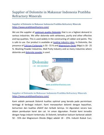 Supplier of Dolomite in Makassar Indonesia Pratibha Refractory Minerals