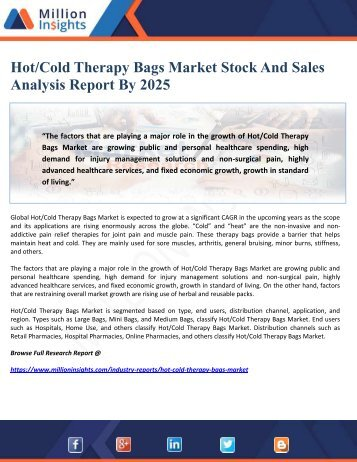 Hot-Cold Therapy Bags Market Stock And Sales Analysis Report By 2025