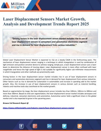 Laser Displacement Sensors Market Growth, Analysis and Development Trends Report 2025
