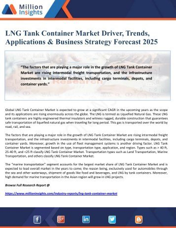 LNG Tank Container Market Driver, Trends, Applications & Business Strategy Forecast 2025