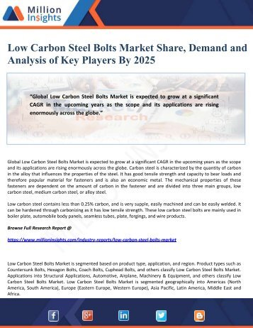 Low Carbon Steel Bolts Market Share, Demand and Analysis of Key Players By 2025