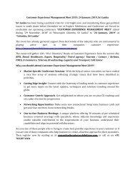 CUSTOMER EXPERIENCE MANAGEMENT MEET 2019- Sri Lanka