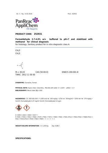 Technisches Datenblatt Formaldehyd 3,7-4,0% G/V gepuffert pH 7 und stabilisiert mit Methanol für die klinische Diagnostik