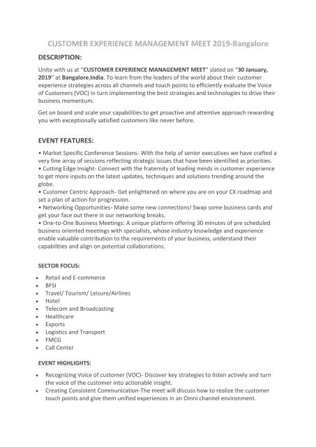 Customer Experience Management 2019-Bangalore