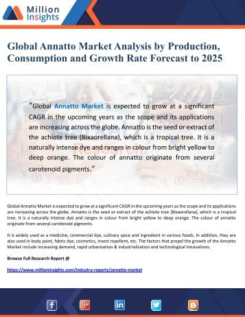 Global Annatto Market Analysis by Production, Consumption and Growth Rate Forecast to 2025