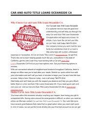 Get Auto Car Title Loans Oceanside CA | 760-573-2214